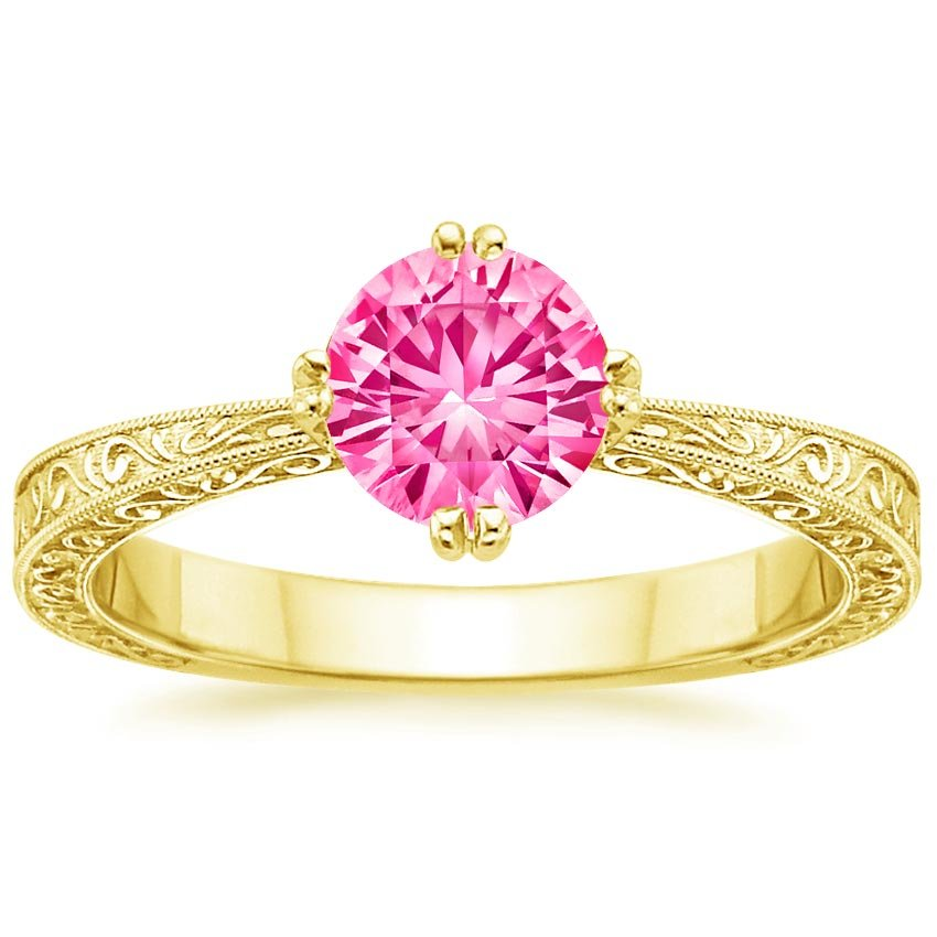 Sapphire True Heart Ring in 18K Yellow Gold with 6mm Round Pink Sapphire