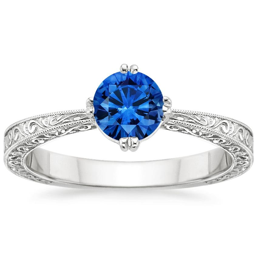18K White Gold Sapphire True Heart Ring, top view