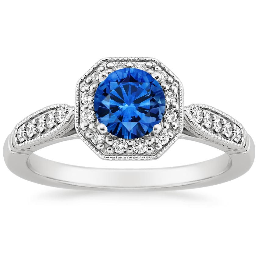 Sapphire Victorian Halo Diamond Ring in 18K White Gold with 5.5mm Round Blue Sapphire