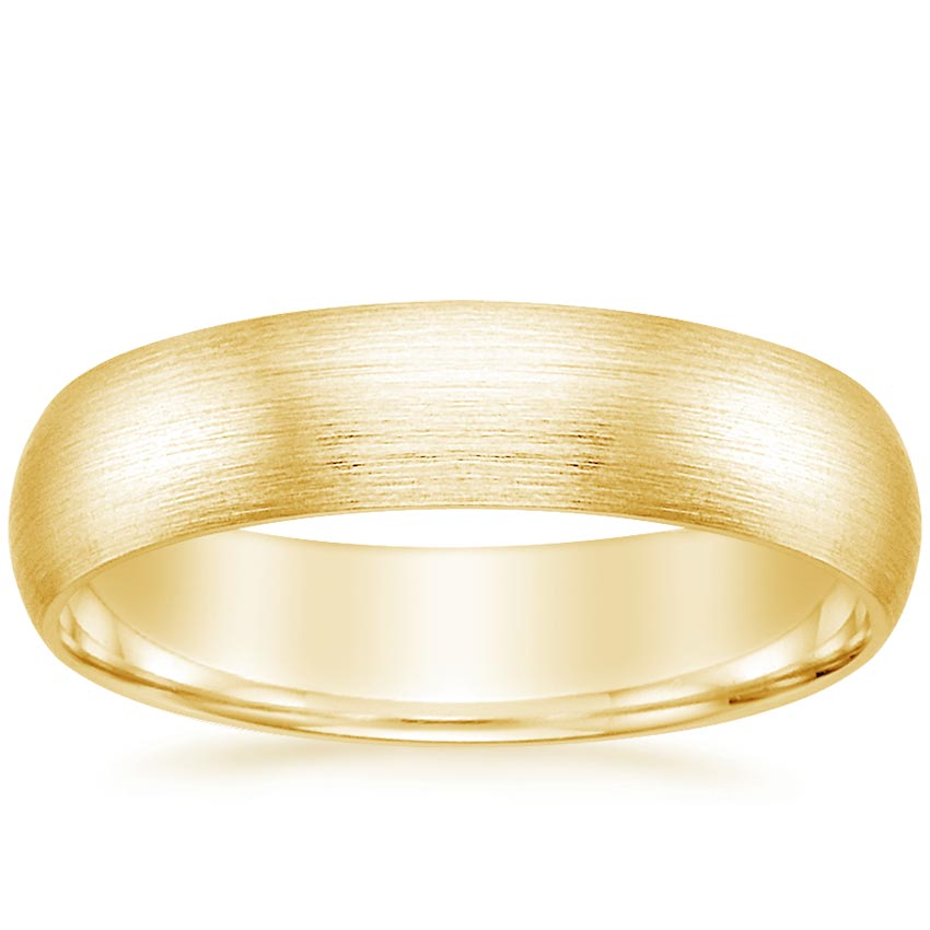 Yellow Gold 5mm Matte Comfort Fit Wedding Ring