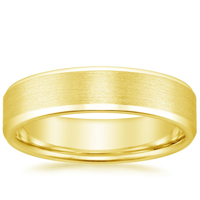 18K Yellow Gold Beveled Edge Matte Wedding Ring, top view