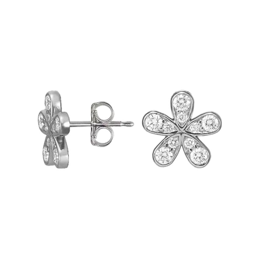 18K White Gold Diamond Flower Stud Earrings (3/4 ct. tw.), top view