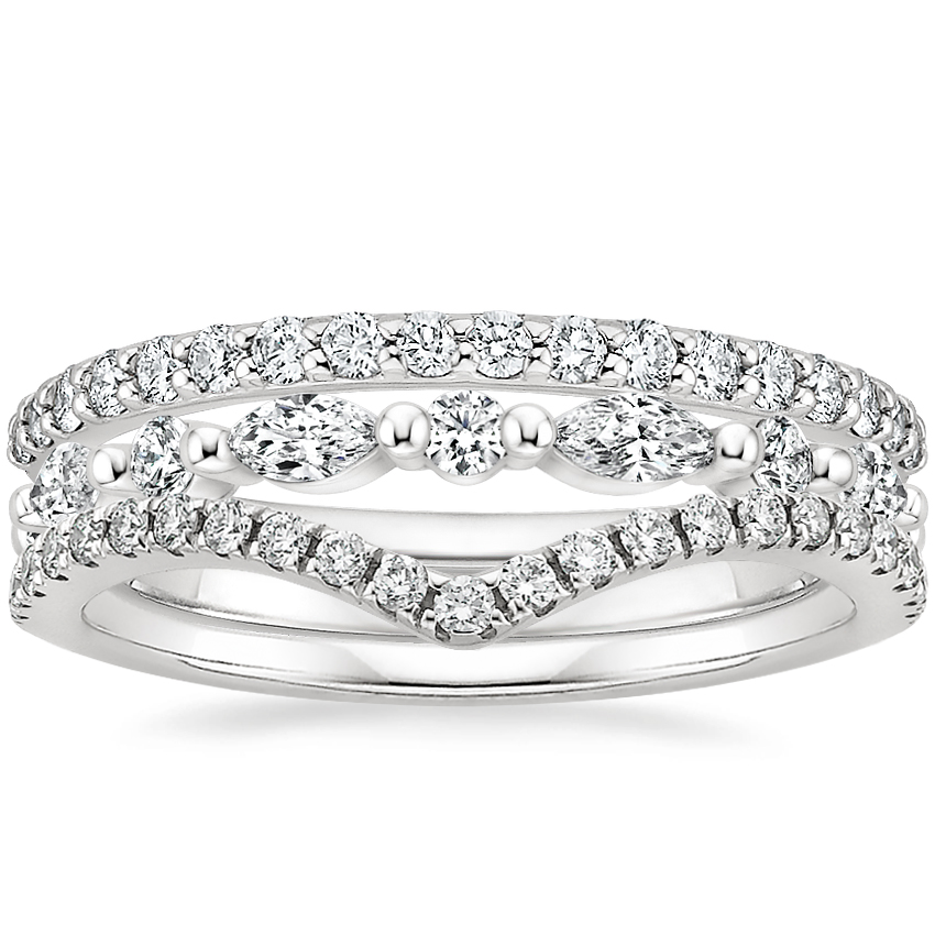 Gisele Diamond Ring Stack in Platinum