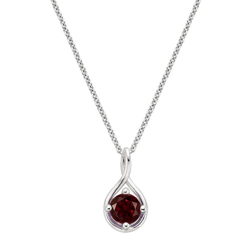 Garnet Twist Pendant in Silver