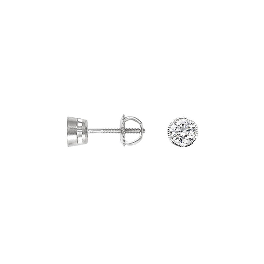 18K White Gold Round Bezel Milgrain Diamond Studs (1/2 ct. tw.), top view