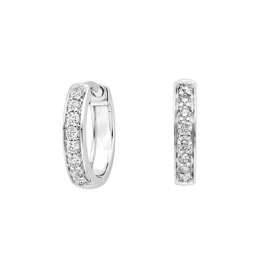 Diamond Huggie Earrings (1/4 ct. tw.) in 18K White Gold