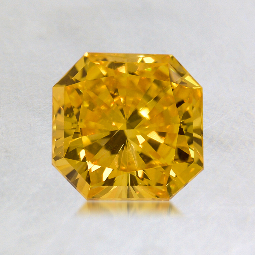 1.01 ct. Lab Created Fancy Vivid Yellow Radiant Diamond, top view