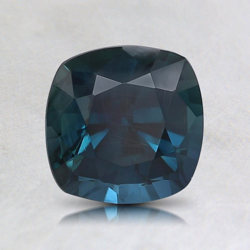 6.5mm Teal Cushion Sapphire, top view