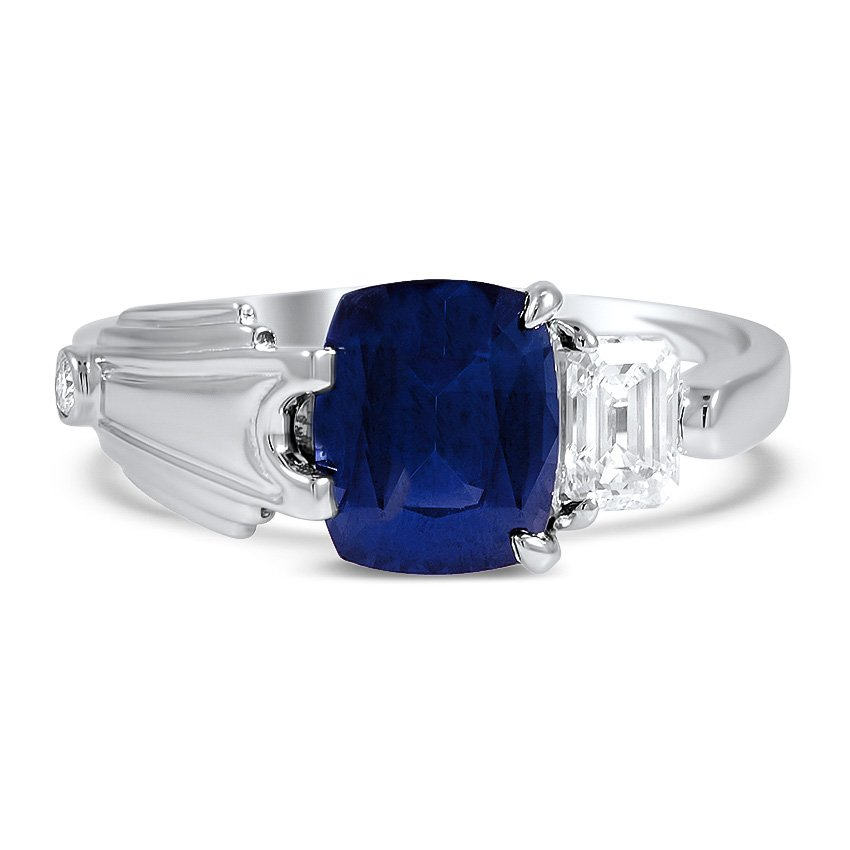 Custom Modern Sapphire and Diamond Engagement Ring