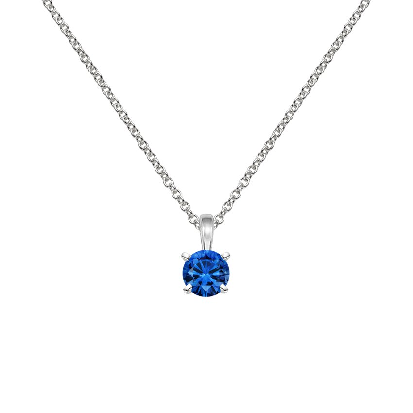18K White Gold Four-Prong Blue Sapphire Pendant (5mm), top view