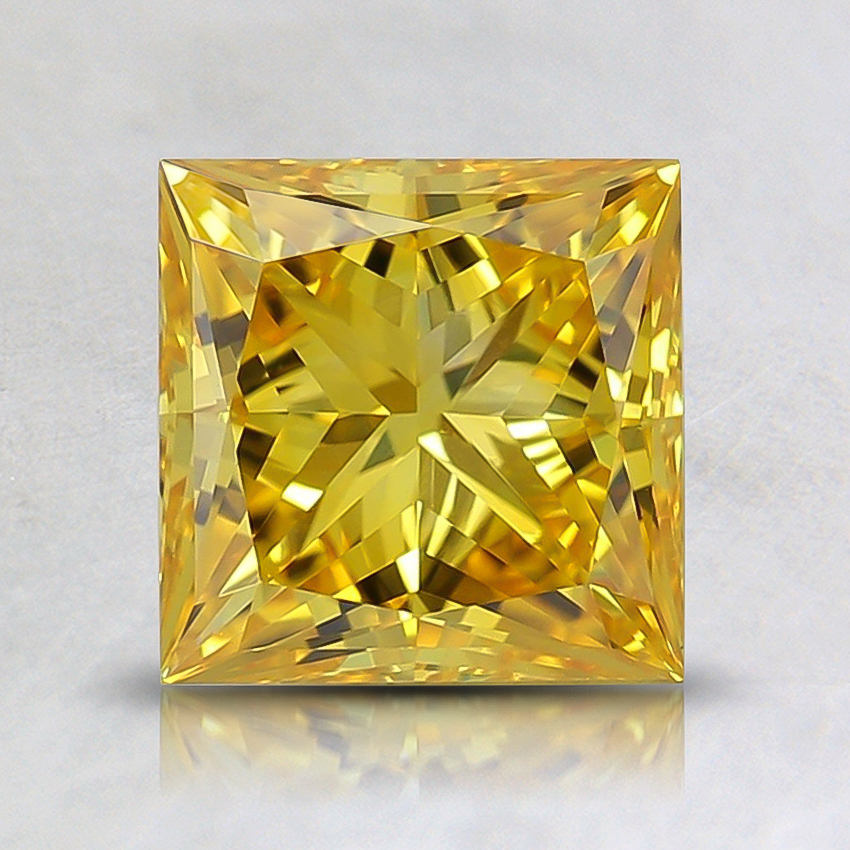 1.28 Ct. Fancy Vivid Orangy Yellow Princess Lab Created Diamond