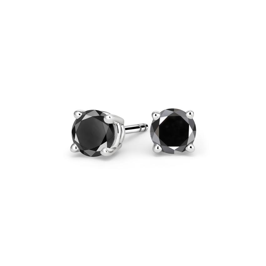 Round Black Diamond Stud Earrings (1 ct. tw.)