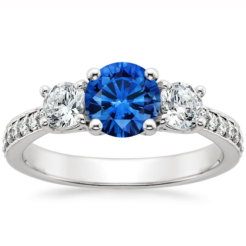 18K White Gold Sapphire Three Stone Round Diamond Pavé Trellis Ring, top view