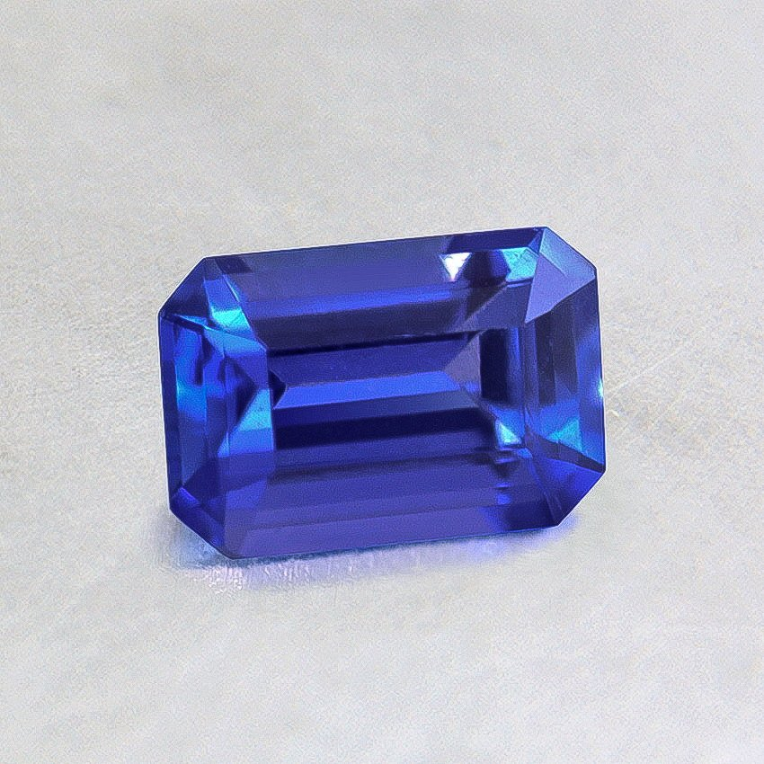 6x4mm Blue Emerald Cut Sapphire, top view