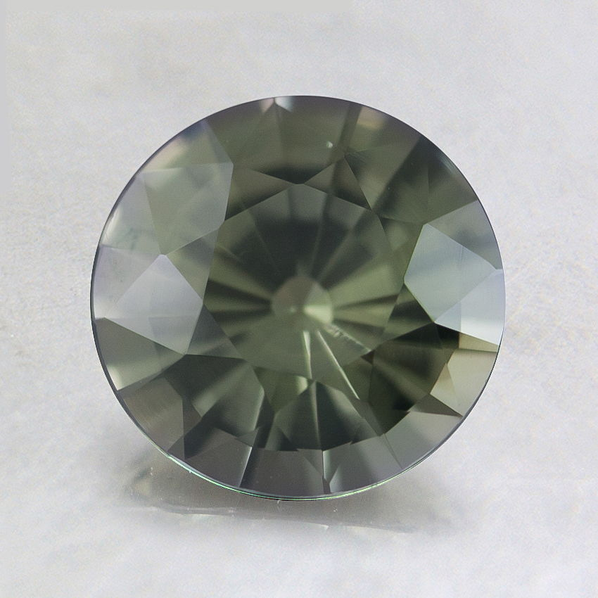 7mm Premium Green Round Sapphire, top view