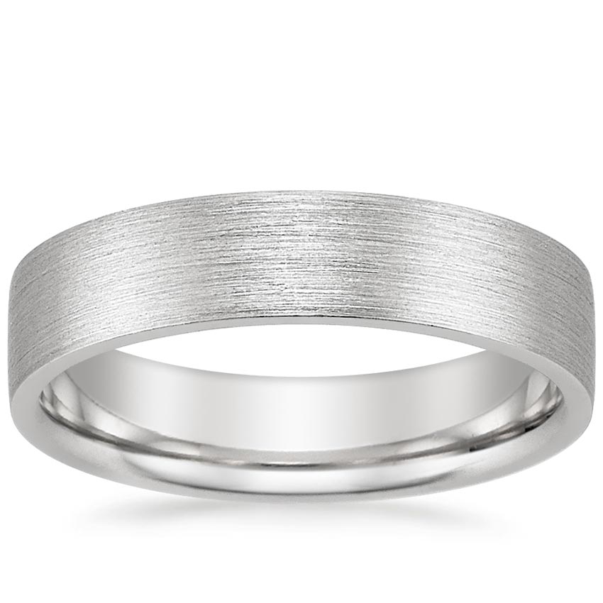 18K White Gold 5mm Flat Matte Comfort Fit Wedding Ring, top view