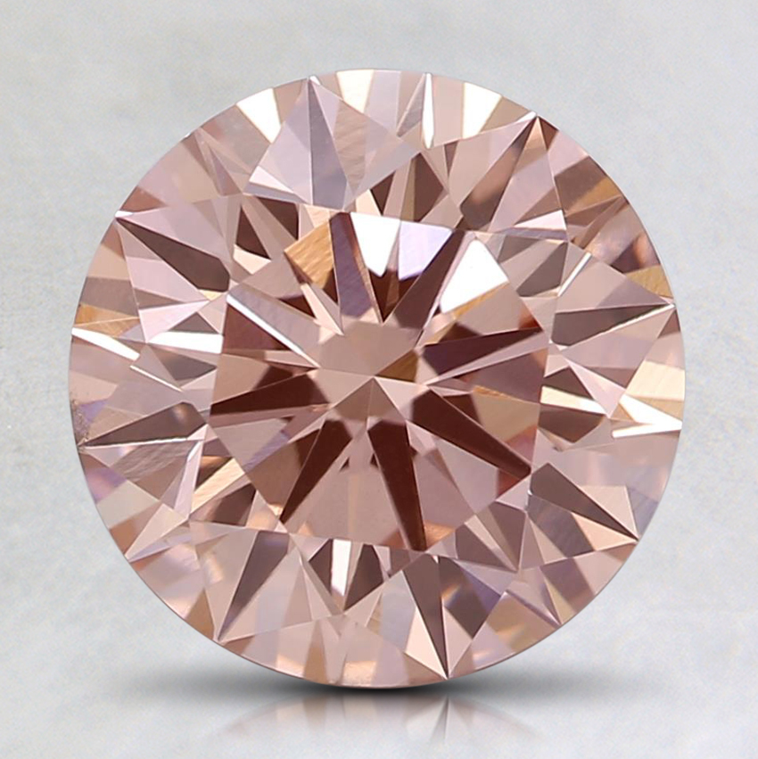 2.17 Ct. Fancy Orangy Pink Round Lab Created Diamond