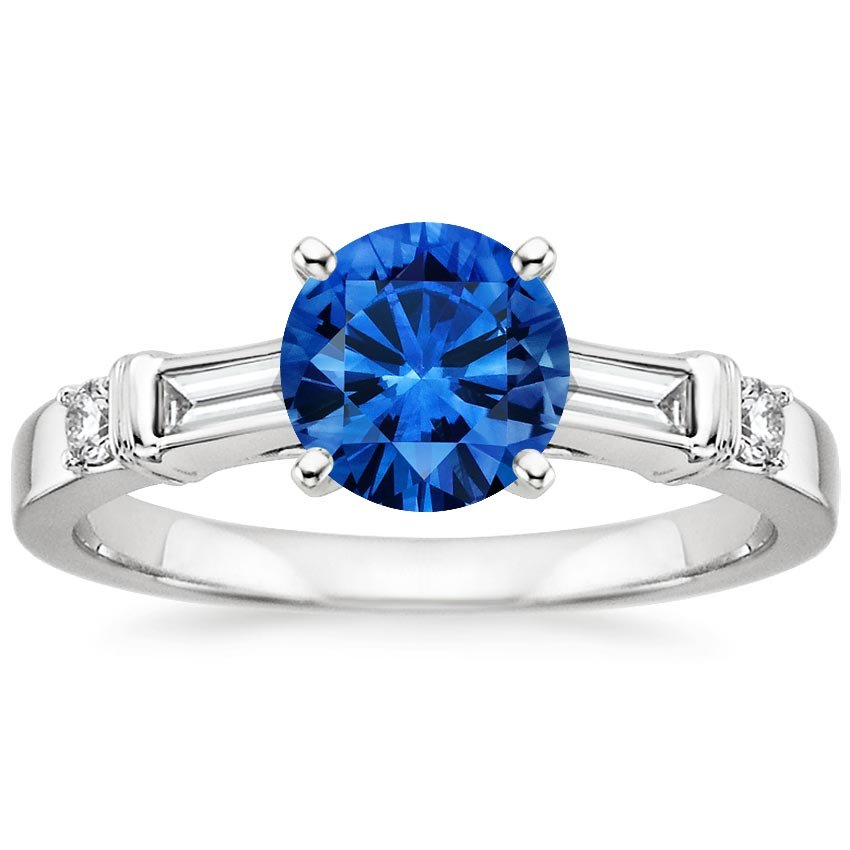 Platinum Sapphire Rialto Diamond Ring, top view