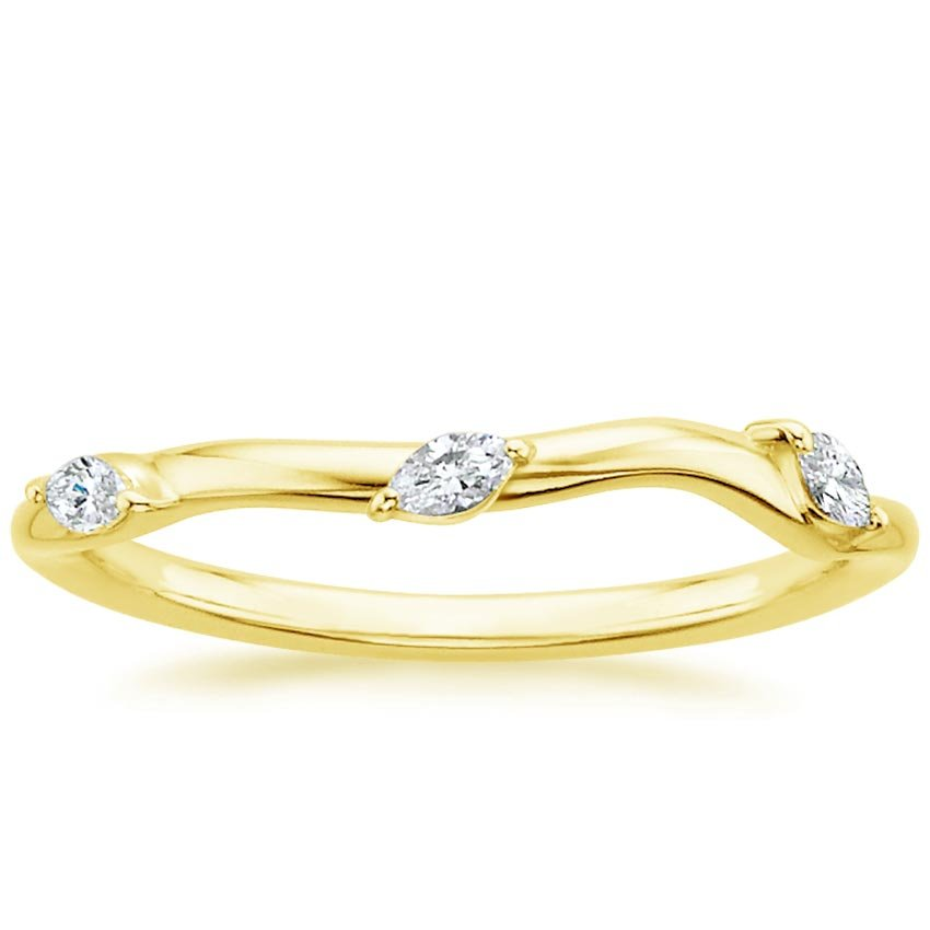 18K Yellow Gold Willow Contoured Diamond Ring (1/10 ct. tw.), top view