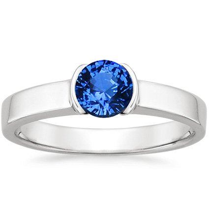 18K White Gold Sapphire Semi-Bezel Ring, top view
