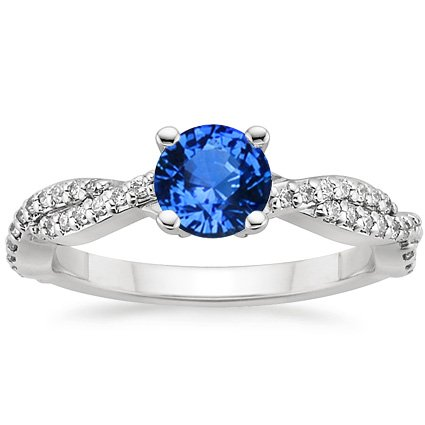 Sapphire Twisted Vine Diamond Ring in 18K White Gold with 5.5mm Round Blue Sapphire