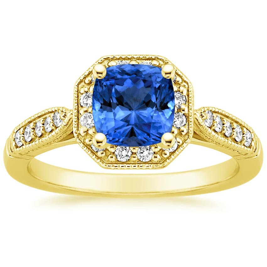 Sapphire Victorian Halo Diamond Ring in 18K Yellow Gold with 6x6mm Cushion Blue Sapphire