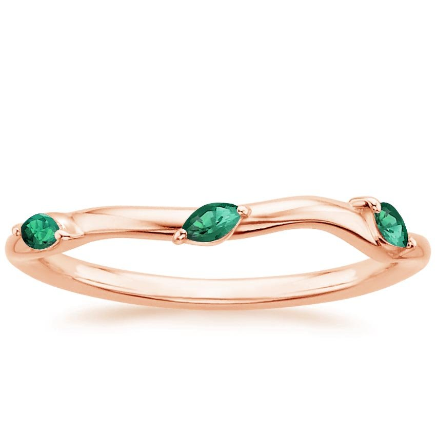 Rose Gold Willow Contoured Ring with Lab Emerald Accents