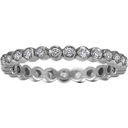 18K White Gold Eclipse Eternity Diamond Ring, top view