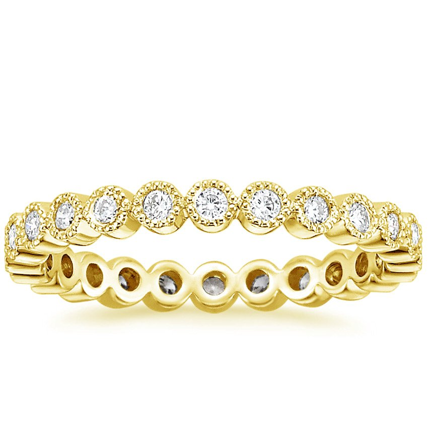 18K Yellow Gold Solstice Eternity Diamond Ring, top view