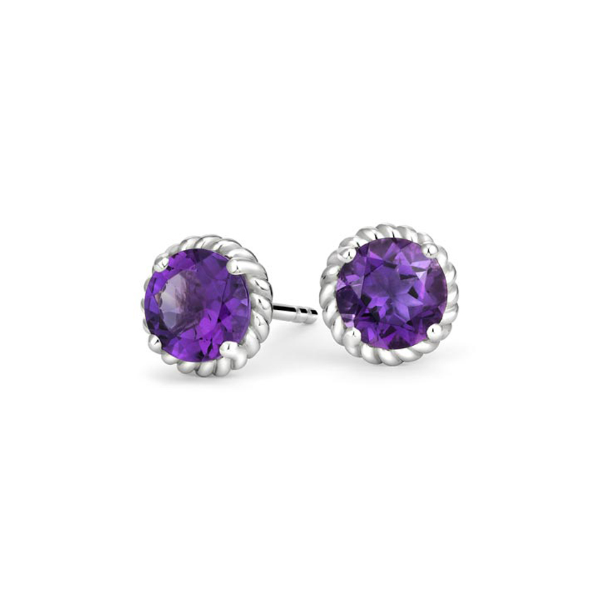 Entwined Amethyst Stud Earrings in Silver