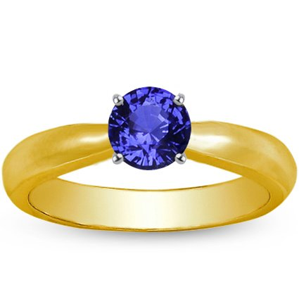 18K Yellow Gold Sapphire Taper Ring, top view