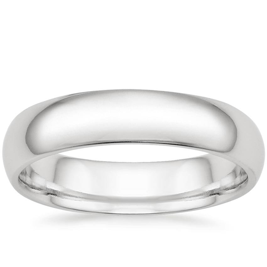 18K White Gold 5mm Comfort Fit Wedding Ring, top view