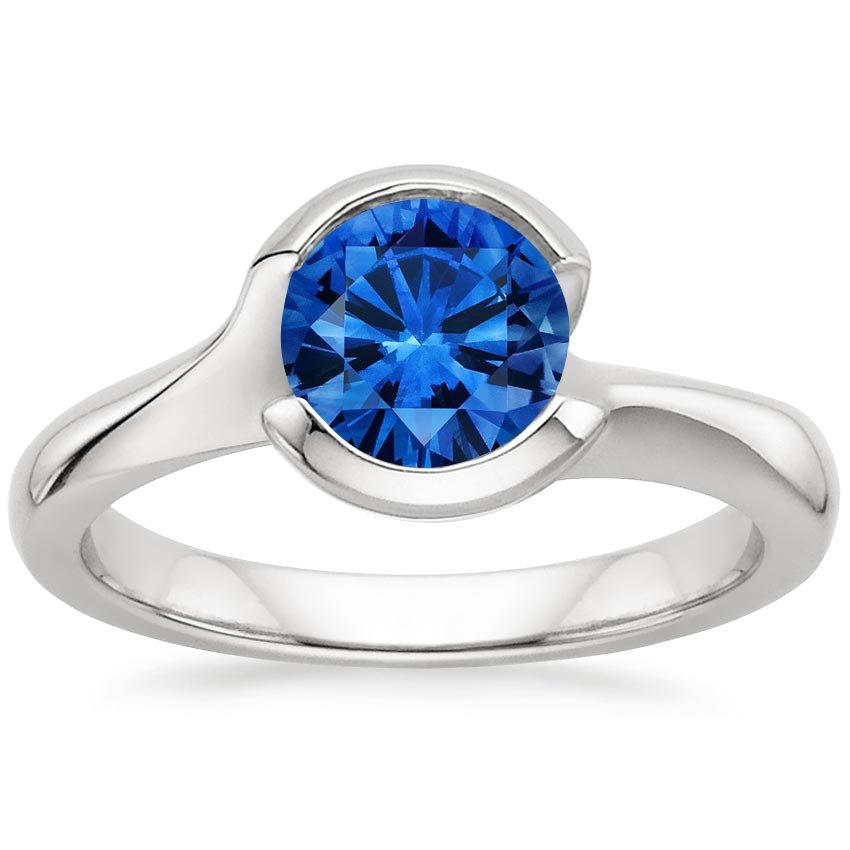 Sapphire Cascade Ring in 18K White Gold with 6.5mm Round Blue Sapphire
