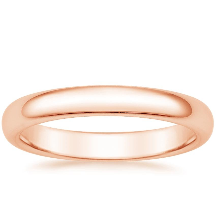 14K Rose Gold 3mm Comfort Fit Wedding Ring, top view