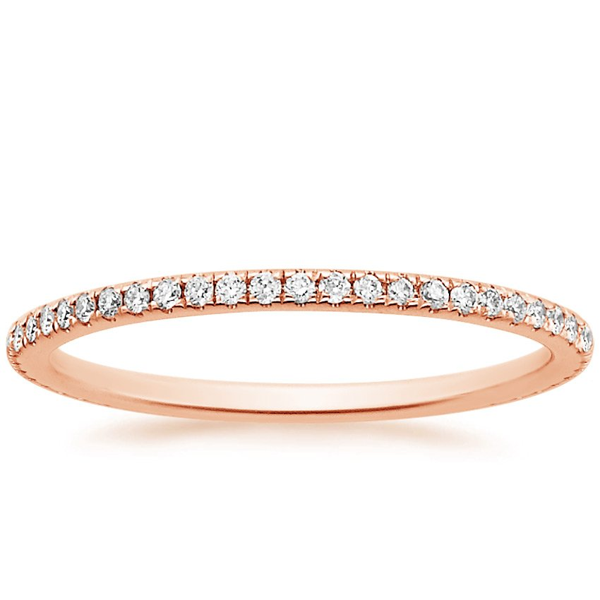 14K Rose Gold Eternity Whisper Diamond Ring, top view