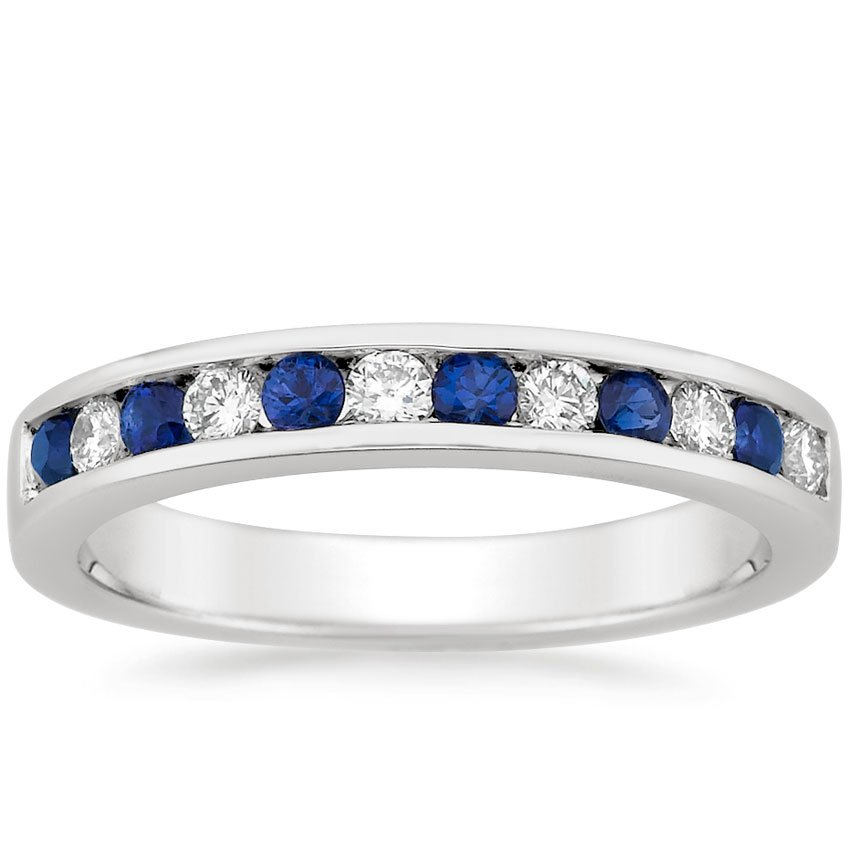 18K White Gold Channel Set Round Sapphire and Diamond Ring, top view