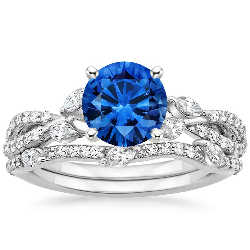 18K White Gold Sapphire Luxe Willow Bridal Set (1/2 ct. tw.), top view