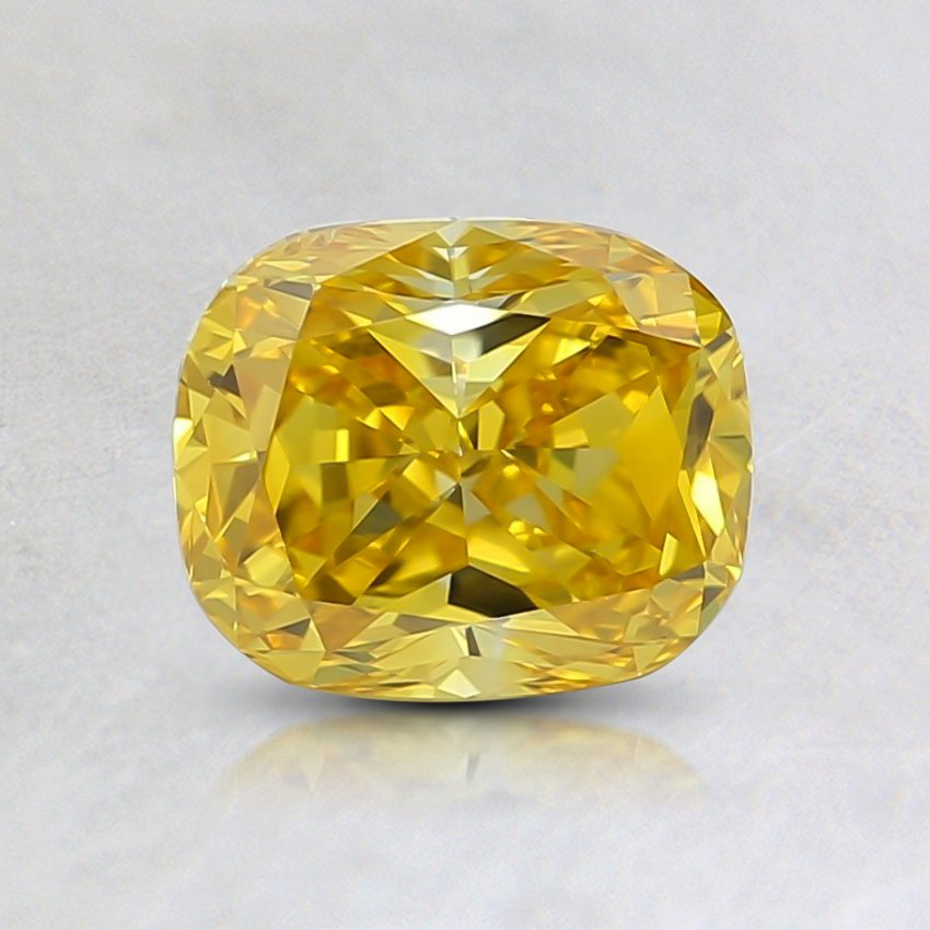 0.90 Ct. Fancy Vivid Orange-Yellow Cushion Lab Created Diamond