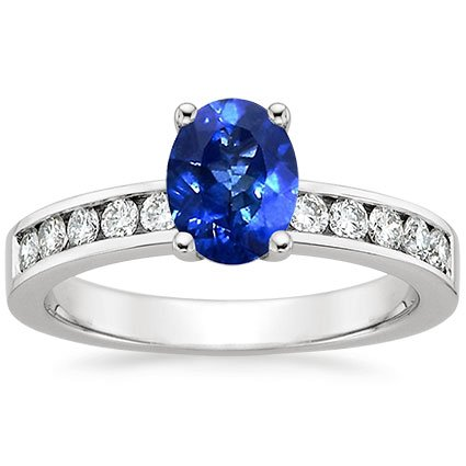 Sapphire Round Channel Diamond Ring in 18K White Gold with 8x6mm Oval Blue Sapphire