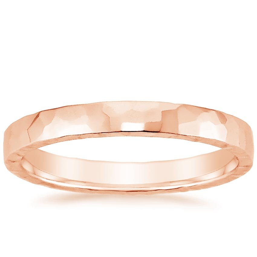 Rose Gold 2.5mm Hammered Quattro Wedding Ring