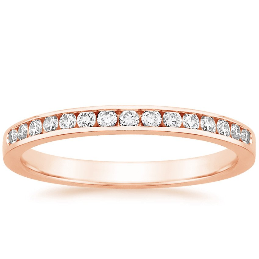 14K Rose Gold Petite Channel Set Round Diamond Ring (1/4 ct. tw.), top view