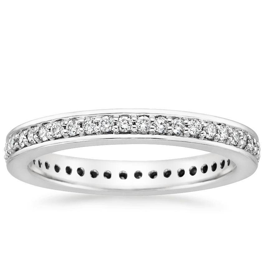 18K White Gold Pavé Diamond Eternity Ring, top view