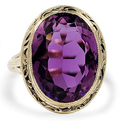 Edwardian Amethyst Cocktail Ring