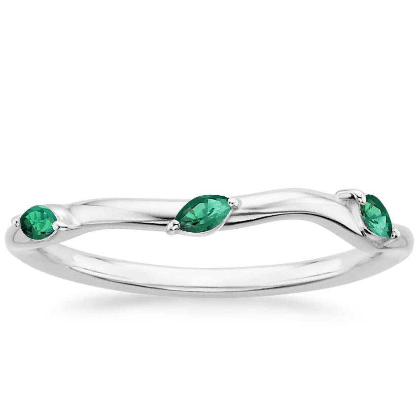 anniversary rings emerald diamond ring emer dia in platinum brilliant wedding band and plat