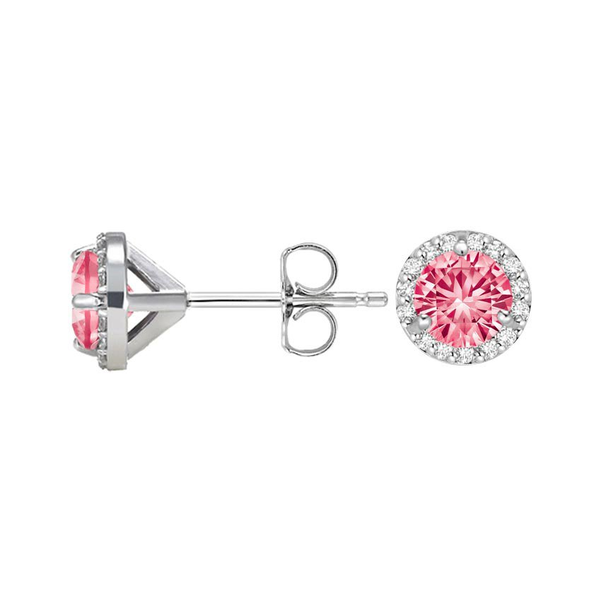 Pink Sapphire Halo Diamond Earrings in 18K White Gold