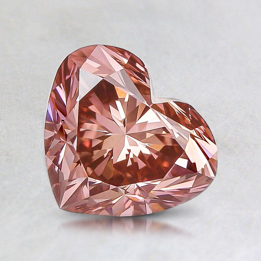 1.36 Ct. Lab Created Fancy Pink Heart Diamond, top view