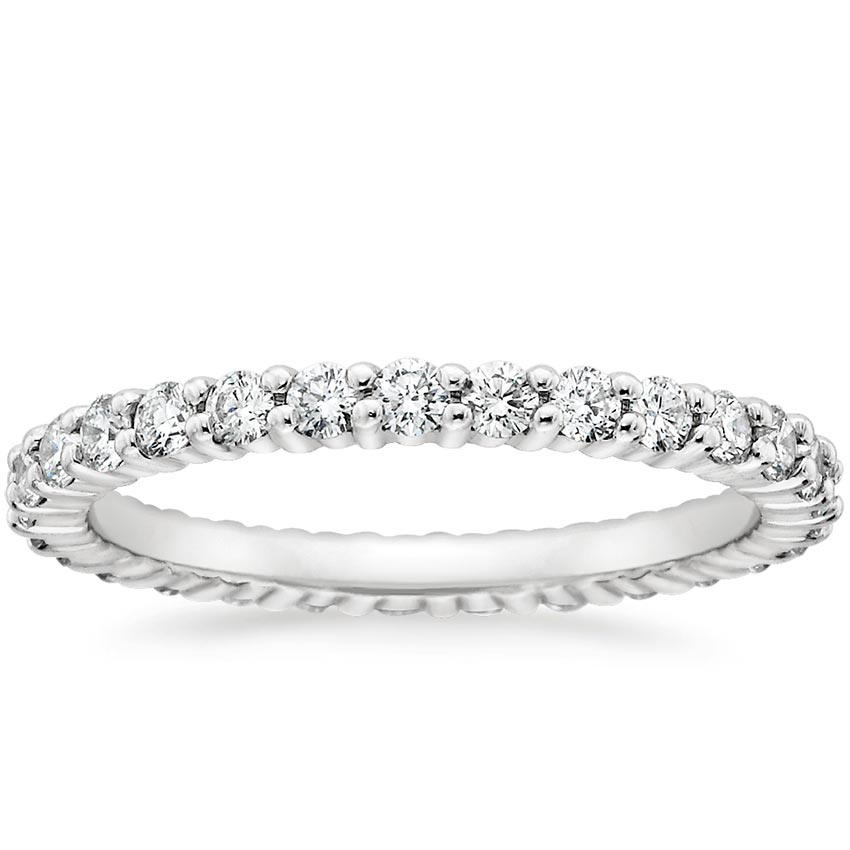 Platinum Eternity Shared Prong Diamond Ring, top view