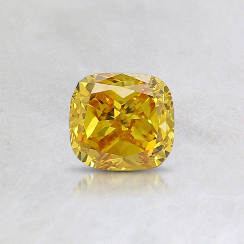 0.34 Ct. Fancy Vivid Yellow Cushion Lab Created Diamond