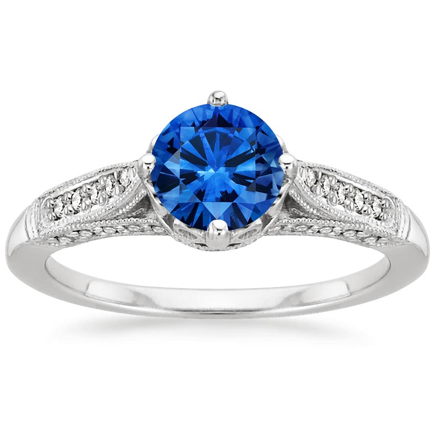 Sapphire Heirloom Diamond Ring in Platinum with 6mm Round Blue Sapphire