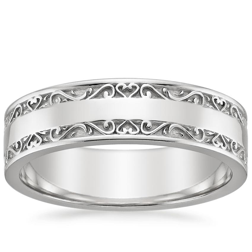 18K White Gold Wide Antique Scroll Ring, top view